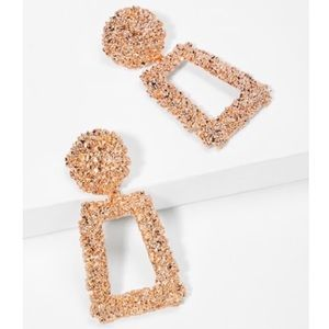 Jewelry - NEW Rose Gold Rectangle Statement Drop Earrings